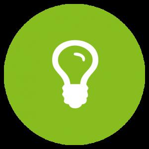 Symbol Gluehbirne in gruenem Kreis