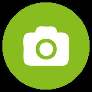 Symbol Kamera weiß in grünem Kreis