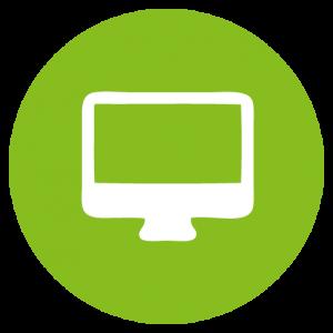 Symbol Computer weiß in gruenen Kreis