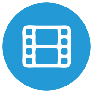 Symbol Filmstreifen weiss in blauem Kreis