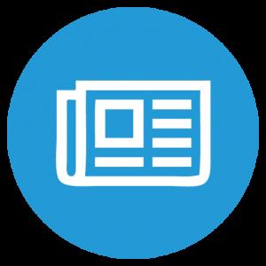 Symbol Zeitung weiss in blauem Kreis