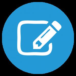 Symbol Stift weiss in blauem Kreis