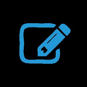 Symbol blau Stift